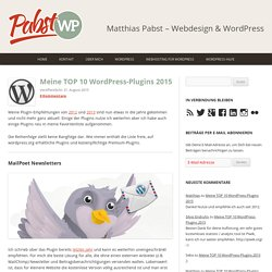 Meine TOP 10 WordPress-Plugins 2015