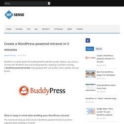 Create a WordPress-powered intranet in 5 minutes - WPsense