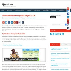 Top WordPress Pricing Table Plugins 2016wpapi.com