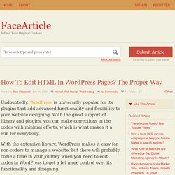 How To Edit HTML In WordPress Pages? The Proper Way - FaceArticle