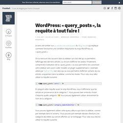 """Wordpress: """"query_posts"""", la requête à tout faire !"""