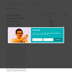 WordPress Recovery Mode: Functions, Filters, and Settings