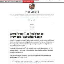 WordPress: Redirect to Previous Page After Login