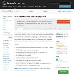 WP-Reservation booking system