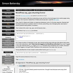 WordPress wp_ajax returning 0 error | Simon Battersby's blog