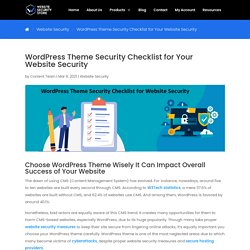 WordPress Theme Security Checklist for Your Website Security