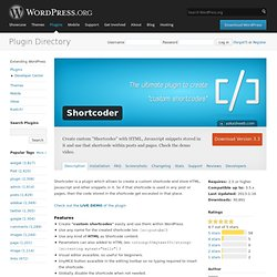 Shortcoder «WordPress Plugins
