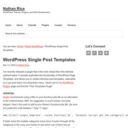 WordPress Single Post Templates