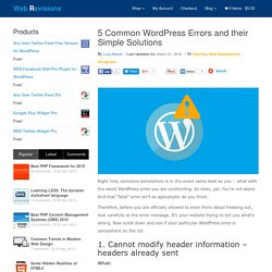5 Common WordPress Errors And Their Simple Solutions