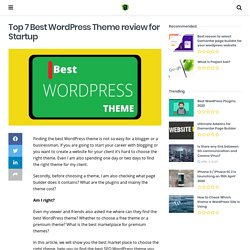 Top 7 Best Wordpress Theme for Startup