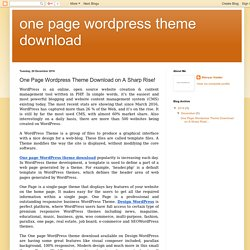 one page wordpress theme download: One Page Wordpress Theme Download on A Sharp Rise!