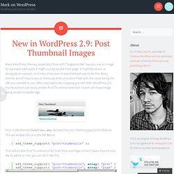 Post Thumbnail Images « Mark on WordPress