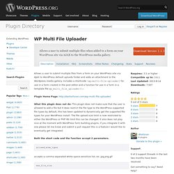 WP Multi File Uploader
