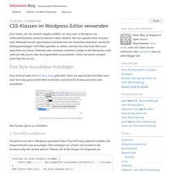 CSS-Klassen im WordPress-Editor verwenden – Sebastians Blog