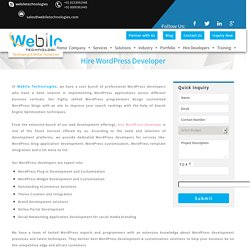 Hire WordPress Developer, Hire Theme and Plugin Developer