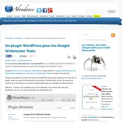 Un plugin Wordpress pour les Google Webmaster Tools