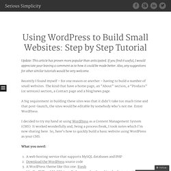 Using Wordpress to Build Small Websites: Step by Step Tutorial «