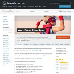 WordPress Zero Spam — WordPress Plugins