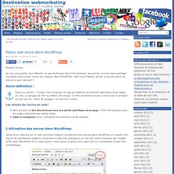 Placer une ancre dans WordpressDestination webmarketing