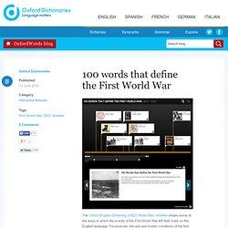 100 words that define the First World War