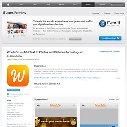 WordsOn — Add Text to Photos and Pictures for Instagram for iPhone, iPad, and iPod touch on the iTunes App Store