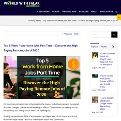 Top 5 Work from Home Jobs Part Time - Discover the High Paying Remote Jobs of 2020 - NEWS