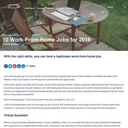 10 Work-From-Home Jobs for 2016