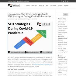 Learn About The Strong And Workable SEO Strategies During Covid-19 Pandemic - NCSoftTech