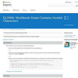 XL2000: Workbook Name Contains Invalid Characters