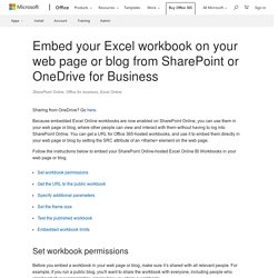 Embed your Excel workbook on your web page or blog from SharePoint or OneDrive for Business