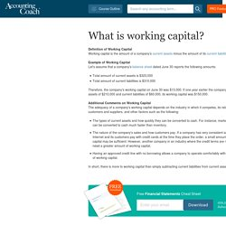 What is working capital?
