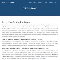 Barry Sharf Working Capital Loans for Small Business with Bad Credit
