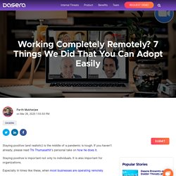 Things We Did That You Can Adopt Easily