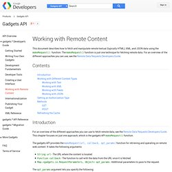 Working with Remote Content - Gadgets API - Google Code
