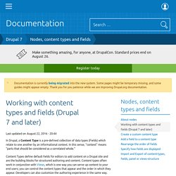 Working with content types and fields (Drupal 7 and later)