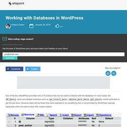 Working with Databases in WordPress
