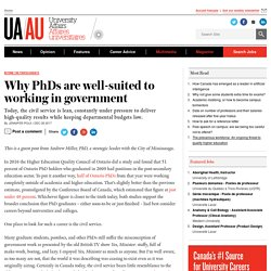 Why PhDs are well-suited to working in government