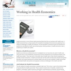 Working in Health Economics