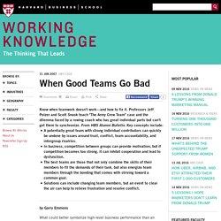 When Good Teams Go Bad - HBS Working Knowledge - Harvard Business School