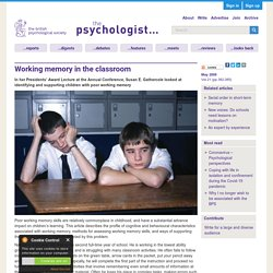 Working memory in the classroom