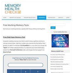 Free Working Memory Test - MemoryHealthCheck