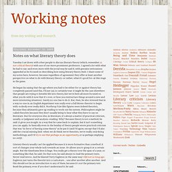 Working notes: Notes on what literary theory does