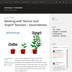 Working with 'Novice' and 'Expert' Teachers – David Weston