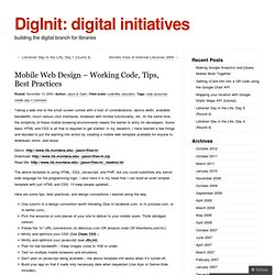 Mobile Web Design – Working Code, Tips, Best Practices « DigInit: digital initiatives