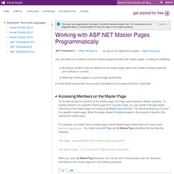 Working with ASP.NET Master Pages Programmatically
