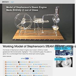 Working Model of Stephenson's STEAM ENGINE made of GLASS ! Rare! Video