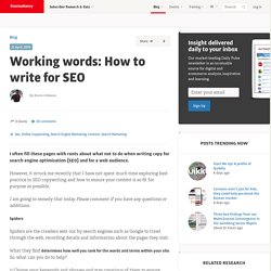 Working words: How to write for SEO | Blog
