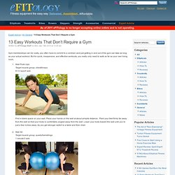 13 Easy Workouts That Don't Require a Gym - eFITology
