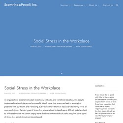 Societal Stressors: 'Social Stress in the Workplace'
