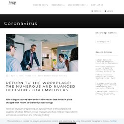 Return to the Workplace: The Numerous and Nuanced Decisions for Employers